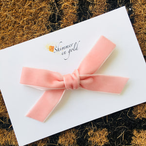 Blush Hand Tied Velvet Bow