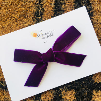 Plum Hand Tied Velvet Bow