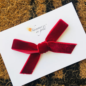 Cranberry Hand Tied Velvet Bow