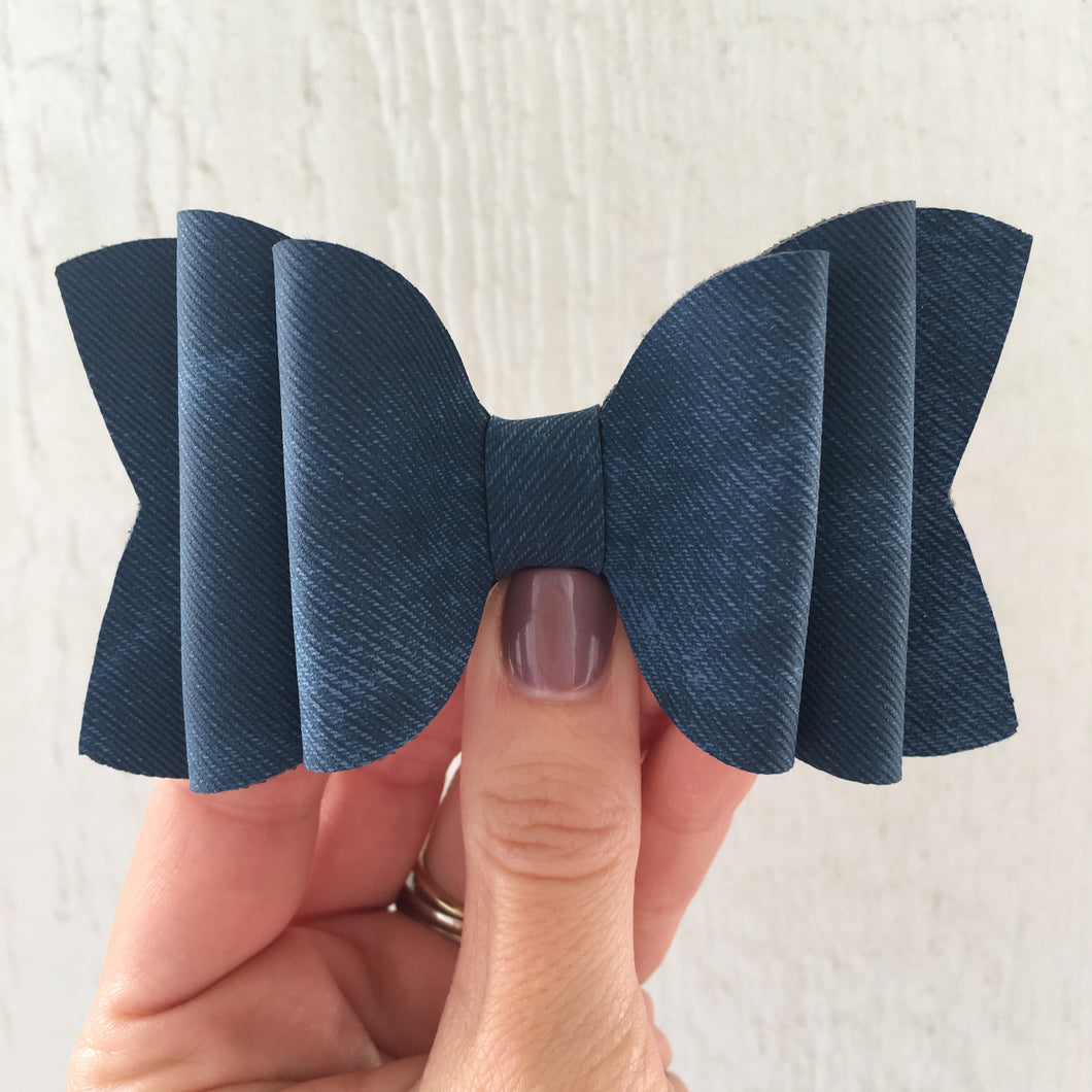Blue Denim Double Layered Bow