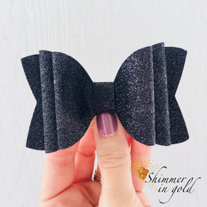 Black Glitter Felt Double Layered Bow