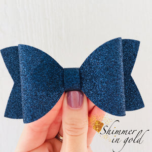 Navy Glitter Felt Layered Bow
