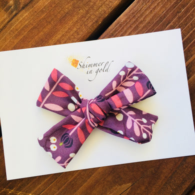 Fall Floral Hand Tied Fabric Bow