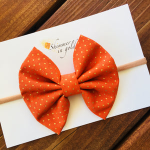 Orange Polka  Fabric Bow