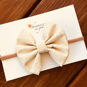 Cream Speckled Fabric Bow