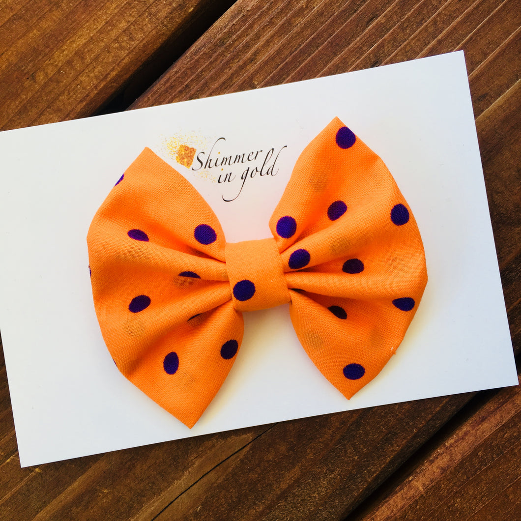 Orange and Purple Polka Dot Fabric Bow