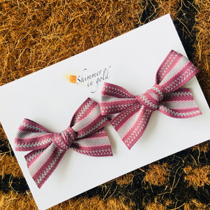 Mauve Woven Hand Tied Pig Tail Bows
