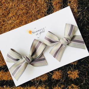 Gray Woven Hand Tied Pig Tail Bows