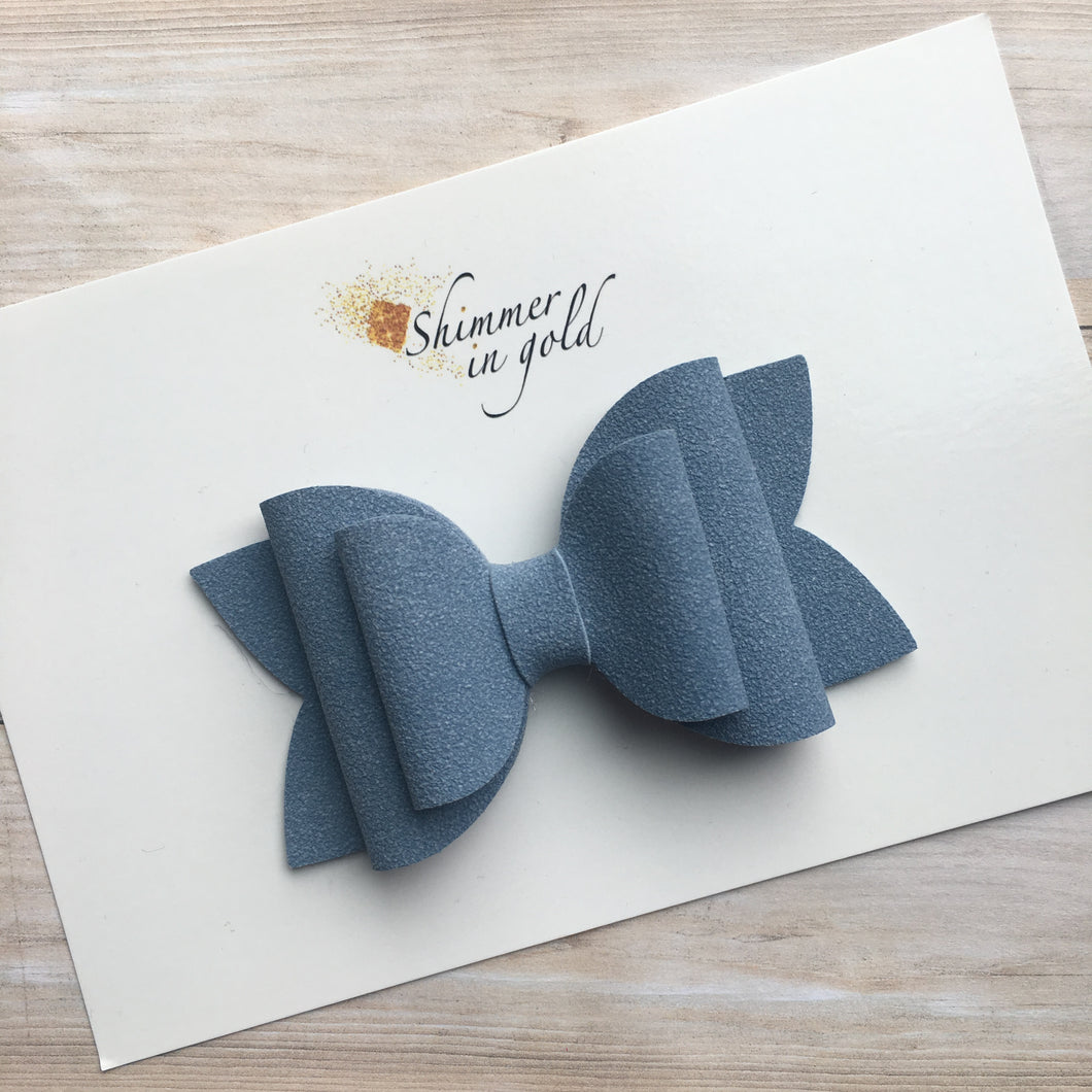 Sky Blue Faux Suede Layered Lainey Bow
