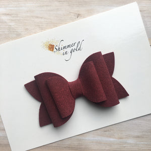 Burgundy Suede Layered Lainey Bow