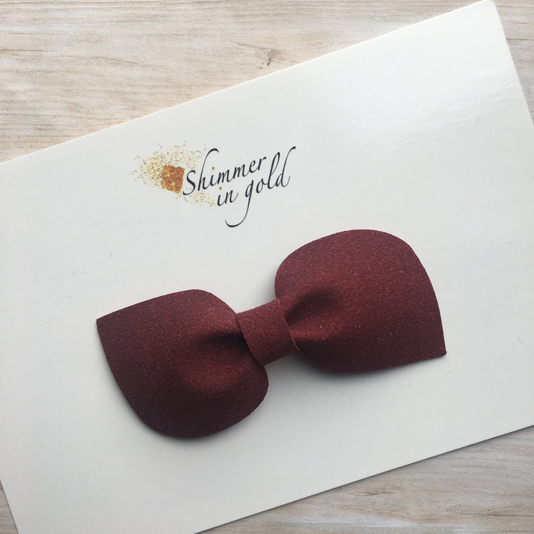 Burgundy Faux Suede Kinsley Bow