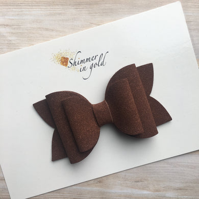 Brown Faux Suede Layered Lainey Bow