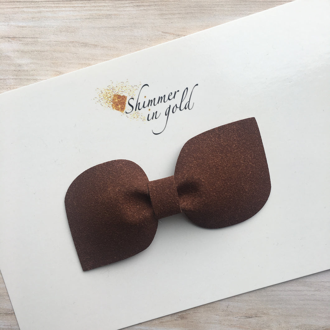 Brown Faux Suede Kinsley Bow