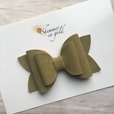 Olive Faux Suede Glitter Layered Lainey Bow