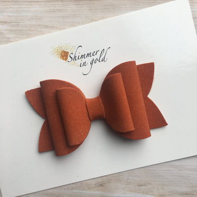 Pumpkin Faux Suede Layered Lainey Bow