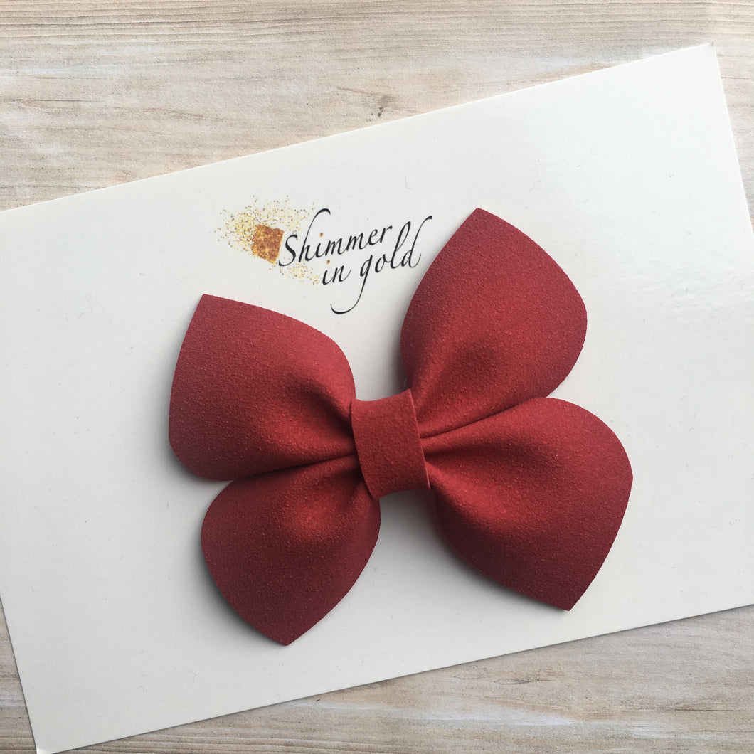 Red Faux Suede Mara Bow