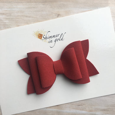 Red Faux Suede Layered Lainey Bow
