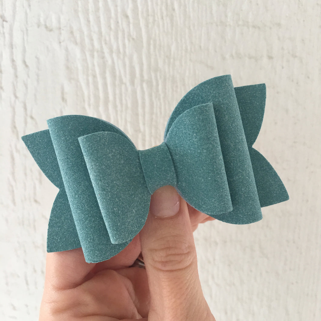 Seafoam Faux Suede Layered Lainey Bow