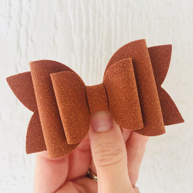 Cinnamon Faux Suede Layered Lainey Bow