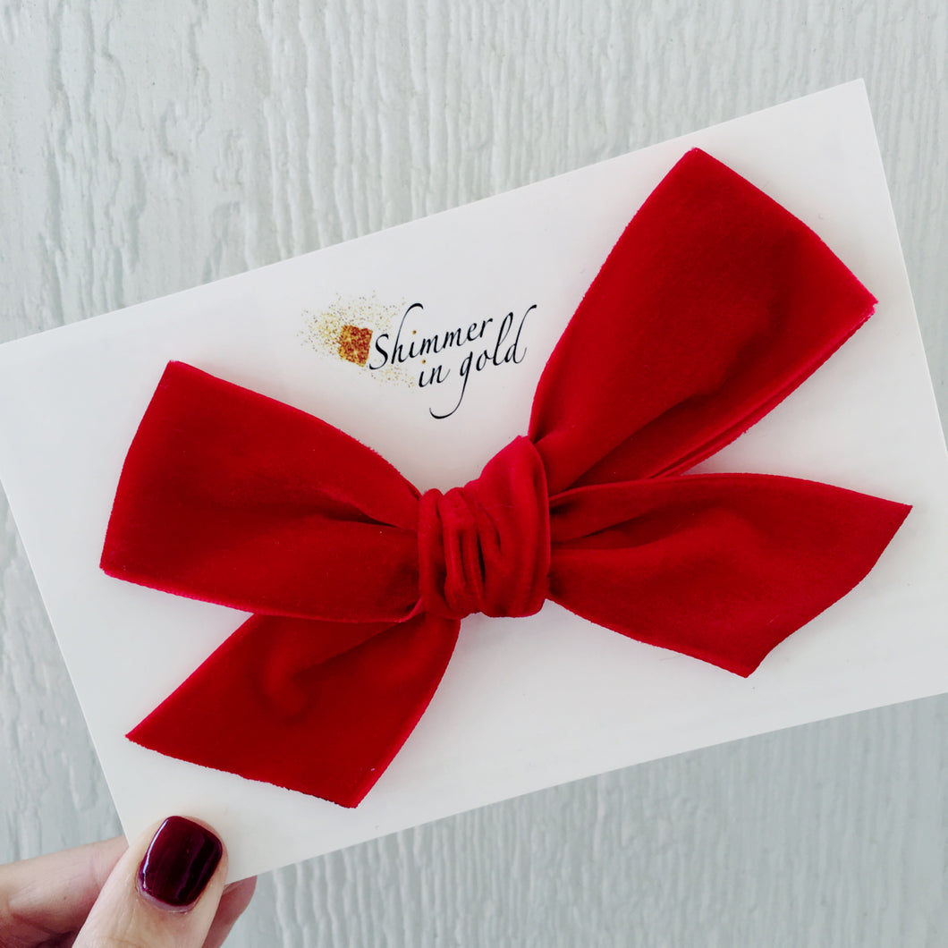 Red Hand Tied Velvet Statement Bow- 5 inch