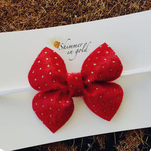 Red Fur Gold Polka Mara Bow