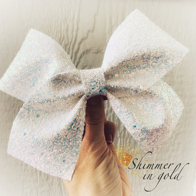 7 inch Glitter Cheer Bow - On Ice