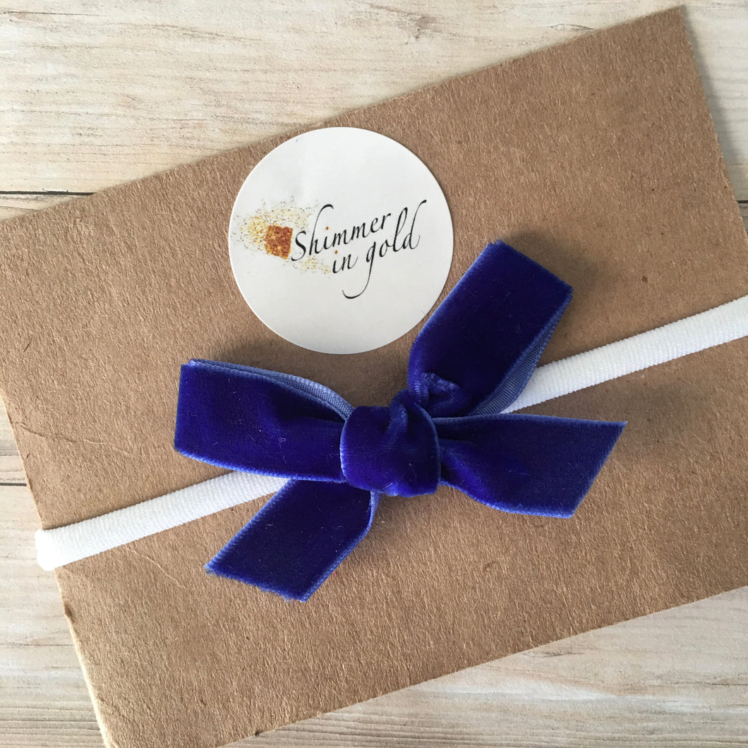 MINI Azure Blue Hand Tied Velvet Bow
