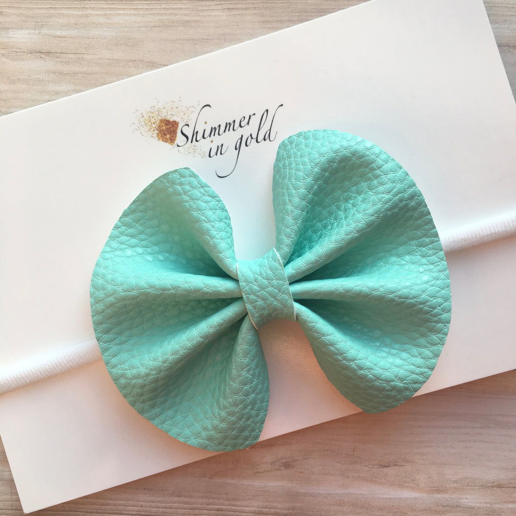 Aqua Pinch Faux Leather Bow