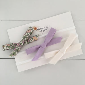 Set of Three Fall Bows (Lavender Floral)