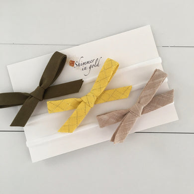 Set of Three Fall Bows (Olive)