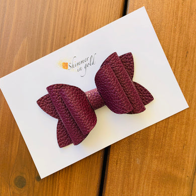 Burgundy Faux Leather Lainey Bow(4 inch & 3 inch)