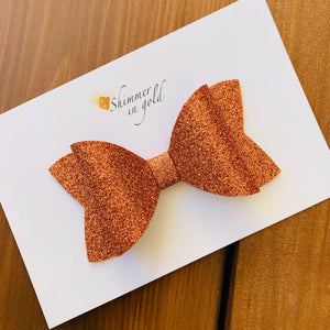 Pumpkin Glitter Felt  Layered Bow