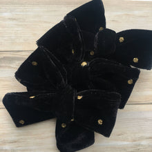 Black with Gold Polka Dot Hand Tied Velvet Bow