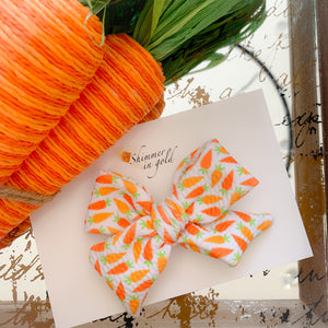 Carrot Hand Tied Bow (single and pig tail option)
