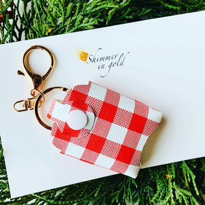Red Plaid Hand Sanitizer Holder
