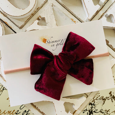 Burgundy Velvet Fabric School Girl Bow