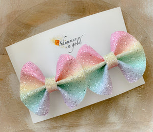 Pastel Rainbow Glitter Pig Tail Bows