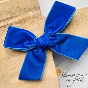Neon Blue Hand Tied Velvet Statement Bow