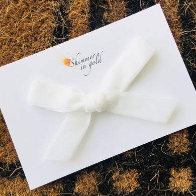 White Hand Tied Velvet Bow
