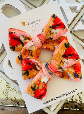 Autumn Floral Hand Tied Pig Tail Bows