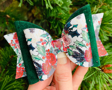 Evergreen Floral Harper Bow