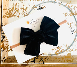 Black Velvet Fabric School Girl Bow