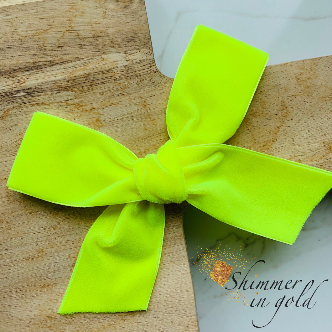 Neon Yellow Hand Tied Velvet Statement Bow