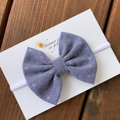 Dot Chambray Pinch Fabric Bow