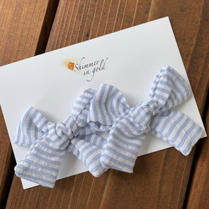 Blue Seersucker Hand Tied Fabric Pig Tail Bows