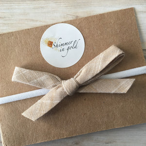 Tan Chambray Hand Tied Bow