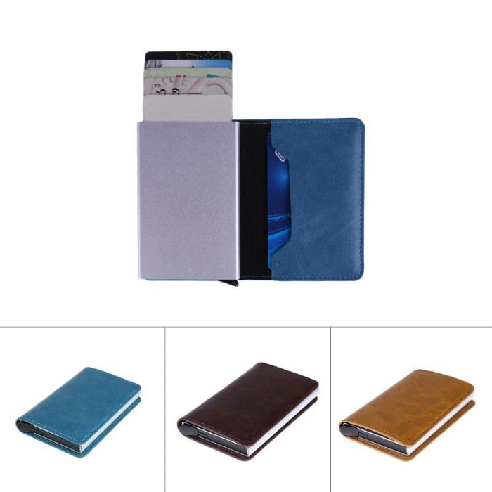 Cash Card Holder Leather Wallets Automatic Pop Up Case