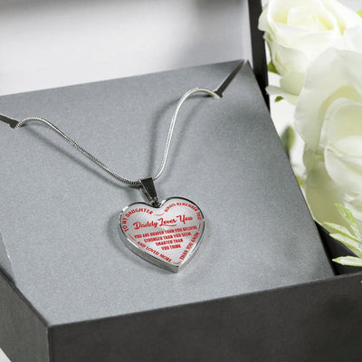 TO MY DAUGHTER, DADDY LOVES YOU - SILVER FINISHED HEART NECKLACE - (RED ON TRANSPARENT) - podprintz.com