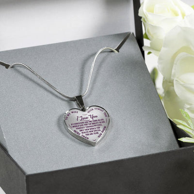 TO MY WIFE, NEVER FORGET, SILVER OR GOLD FINISHED HEART SHAPED NECKLACE (PURPLE ON TRANSPARENT)