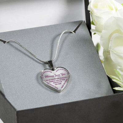 TO MY DAUGHTER - MOMMY LOVES YOU - (LIGHT PURPLE ON TRANSPARENT) SILVER FINISHED HEART NECKLACE - podprintz.com